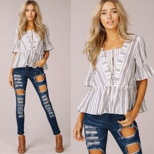 TRACEE Lace up Top - Grey